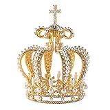 Lurrose Corona Dorada de la Boda Corona barroca Vintage Tiara Rhinestone Perla Boda Real Nupcial...