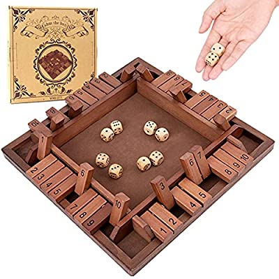 Shut The Box Game Wooden 4 Player, Classic Board Game for Kids & Adults, Educational Math Learning Toy, Table Dice Game for The Party Family or Bar - 12 Inch with 8 Dice