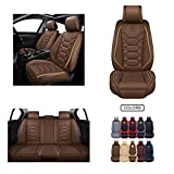 Leather Car Seat Covers, Faux Leatherette Automotive Vehicle Cushion Cover for Cars SUV Pick-up Truck Universal Fit Set for Auto Interior Accessories (OS-004 Front Pair, Brown) -  Oasis Auto