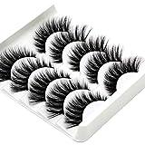 False Eyelashes, 5 Pairs 3D Eyelashes Artificial Natural Black Long Pure Handmade with Invisible Band Reusable (A5)