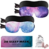 PrettyCare 3D Sleep Mask (Ultra Blue & Purple & Black) Eye Mask for Sleeping - Best Contoured Blindfold with Ear Plugs,Travel Silk Pouch for Men Women