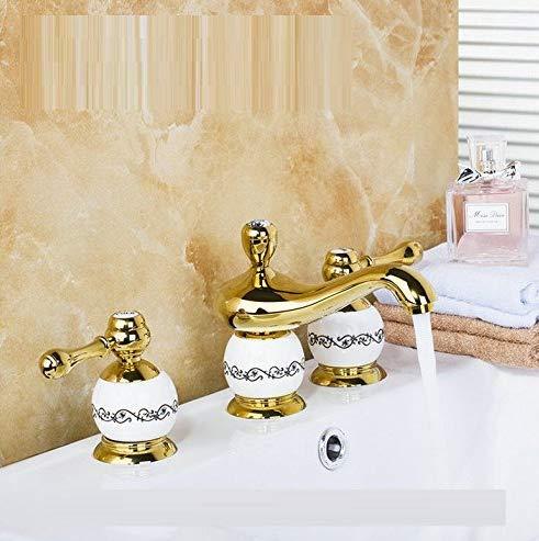 Retro Deluxe Faucetinging Lavabo Grifo Dorado Pulido 3Pcs Conjunto Bañera Diseño Europeo Grifo De Baño Montado En Cubierta Grifo Mezclador De Lujo Cuenca Grifo