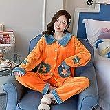 STJDM Bata de Noche,Precioso Pijama de Franela para Mujer, Conjunto de 2 uds para Dormir, Ropa de Invierno para el hogar, Pijama de Dibujos Animados para Dormir, XXL OrangeA