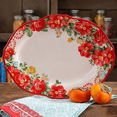 The Pioneer Woman Vintage Floral Red and White Serving Platter
