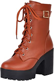 Aniywn Ladies Chunky Heel Ankle Boots High Heel Platform Women Strappy Shoes Thick Bottom Lace-Up Boots