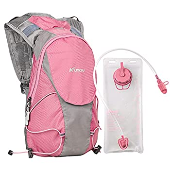 KUYOU Hydration Pack for Kids Hydration Water Backpack with 1.5L Hydration Bladder Lightweight Insulated Water Pack for Festivals Raves Hiking Biking Climbing Running  Pink