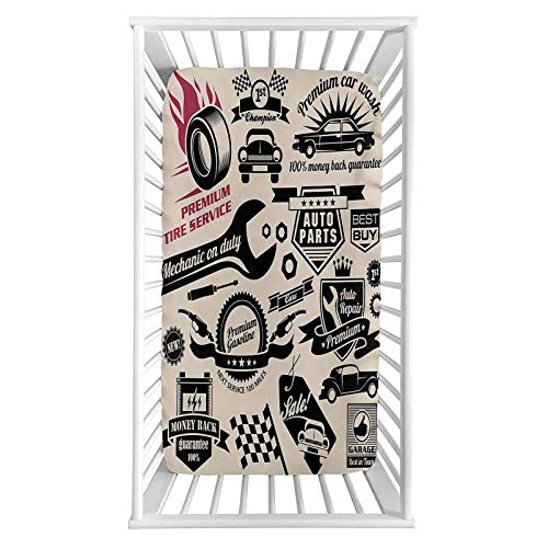 """Lyzelre Retro Fitted Crib Sheet,Car Repair Shop Logos Monochrome Car Silhouettes Best Garage in Town Microfiber Silky Soft Toddler Mattress Sheet Fitted,28""""x 52""""x 8'',Baby Sheet for Boys Girls"""