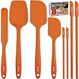 Forc Silicone Spatula Set of 8 include 4 Mini Spatulas, Heat Resistant Rubber Spatula Kitchen Utensils, One Piece Design with Stainless Steel Core, Kitchen Spatulas for Nonstick Cookware,Orange