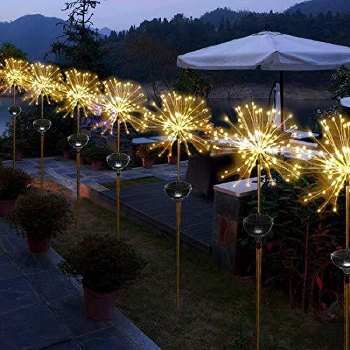 2pcs Solar Garten Licht Dekoration Licht,SUAVER 150LED Feuerwerk Lichter Solar Taschenlampe,Wasserdicht Solarleuchten 8 Modus Kupferdrahtlicht Für Hochzeit Festival Party Garten Dekoration (Warmweiß)
