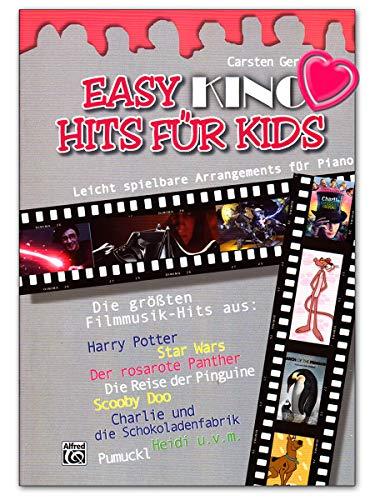 Easy Kino Hits für Kids - 12 leicht spielbare Klavierarrangements der schönsten Filmmelodien arrangiert von Carsten Gerlitz - Noten mit bunter herzförmiger Notenklammer