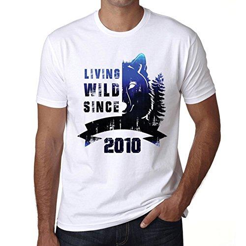 2010 Cumpleaños de 11 años, Living Wild Since 2010 Cumpleaños de 11 años Hombre Camiseta Blanco Regalo De Cumpleaños 00508