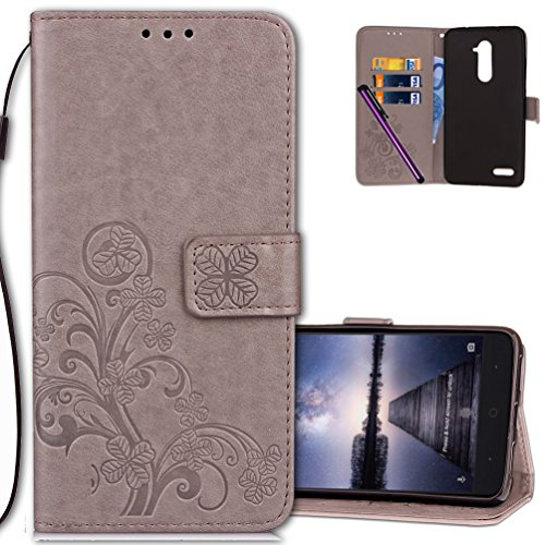 COTDINFORCA Case for ZTE Z Max Pro Wallet Case Leather Premium PU Embossed Design Magnetic Closure Protective Cover with Card Slots for ZTE ZMAX PRO Z981 (2016). Luck Clover Grey