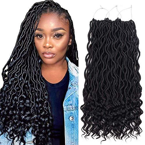 7 Packungen Faux Goddess Locken Crochet Extensions, synthetisch Xpressions Haar zum Flechten, Deep wave fiber Hair with Curly Ends (20inch,1B#)