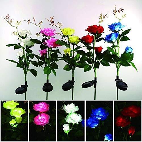 CattleBie 5 stücke led solar Simulation Rose Blume Plug-in, dekorative Outdoor wasserdichte Park Platz innenhof Garten Bunte veränderung Landschaft Lichter Schilf Lichter (fünf Farben)