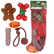 HOMIMP 5 Pack Dog Toys Stocking Christmas - Assorted Set Including Squeaky Toy and Chew Toy for Doggies