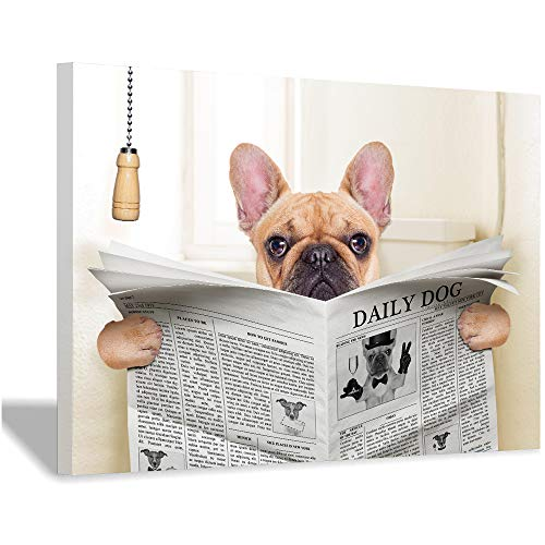 Anmaseven French Bulldog Dog Sitting on Toilet and Reading Magazine Canvas Art Poster Print Funny Art Painting Picture Bathroom Wall Decor (Framed-Ready to Hang,24x32inch)