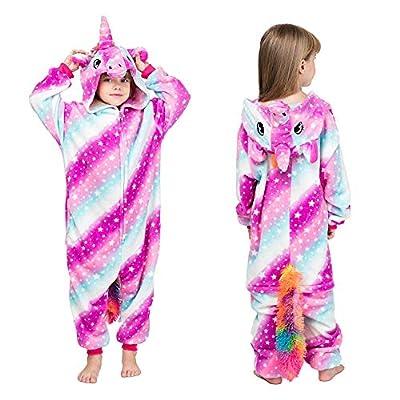 MMTX Pijamas Animal para Niñas Niños, Pijamas de Unicornio Pijamas Enteros de Animales con Capucha, Halloween Navidad Regalos para Niñas y Adolescentes 3-12 Años (L)