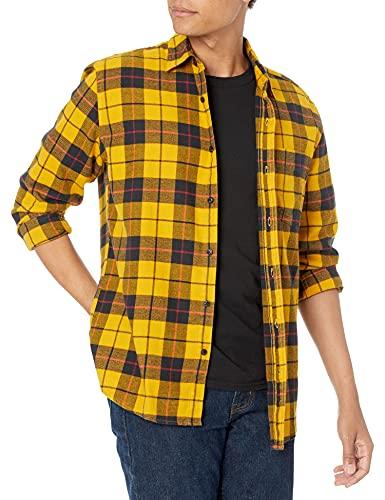 Amazon Essentials - Camisa de franela a cuadros de manga larga y ajuste regular para hombre, Amarillo (Yellow Plaid), US L (EU L)