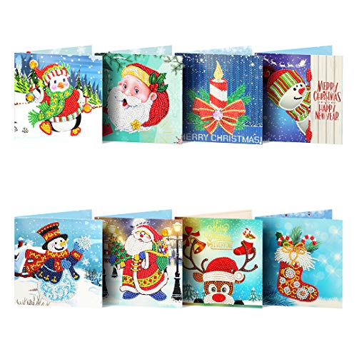 Christmas Card 5D Diamond Painting Kits Christmas Tree Santa Claus Full Drill New Year Greeting Card Christmas and Christmas DIY Gift for Holiday Friends and Family(8 Pack) (chris-02)