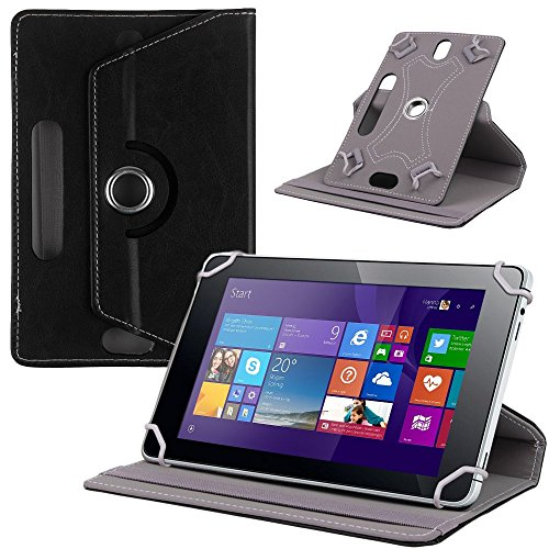 NAUC Tasche Hülle für ODYS Ieos Quad 10 Pro Schutzhülle Tablet Cover Hülle Bag Etui, Modellauswahl:Schwarz 360° mit Univ. Kameraausschnitt