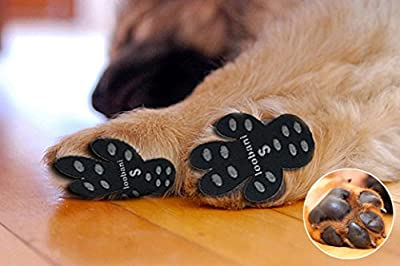 Loobani 48 Pieces Dog Paw Protector Traction Pads To Keeps Dogs From Slipping On Floors, Disposable Self Adhesive Shoes Booties Socks Replacement, 12 Sets for 4 Paws