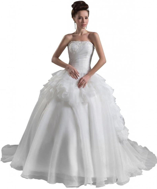 Dearta Women's Ball Gown Strapless Court Train Organza Wedding Dresses