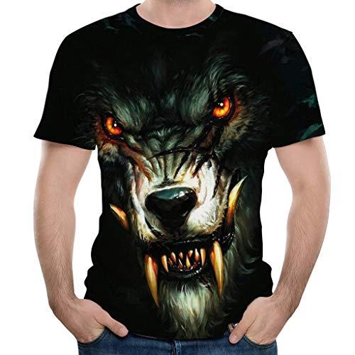Yowablo Herren T-Shirt und Männer Tshirt 3D-gedrucktes T-Shirt in Übergröße S-3XL Coole Druckoberteil-Bluse (M,2Schwarz)