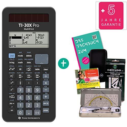 Streberpaket: TI 30-X Pro Mathprint + Fachbuch + erweiterte Garantie + Schutztasche + Geometrie-Set + Lern-CD
