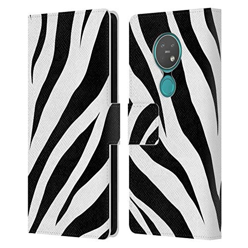 Officiële Grace Illustration Zebra Dierenafdrukken Lederen Book Portemonnee Cover Compatibel voor Nokia 7.2