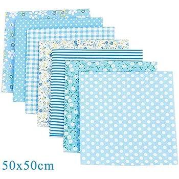 Chyu - 7 unidades de tela de algodón por metro (50 x 50 cm), color azul: Amazon.es: Amazon.es