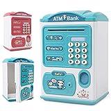 KOPOU Hucha Electrónica Cajero Automático con Contraseña de Huella Digital Caja de Dinero para Niños Caja de Ahorro para Cajero Automático Juguete para Niños Y Niñas