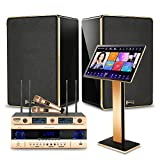 Peierstion 2021 Karaoke Machine for Adults,with 2 UHF Wireless Microphone,Professional Power Amplifier, 8''Home Theater Speakers,YouTube Movie Song WiFi Cloud Download Karaoke System (8T, Black)