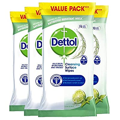 Dettol Cleaning Wipes Surface Cleansing Antibacterial Disinfectant, Lime and Mint Fragrance, Multipack 4 x 72, Total 288 Wipes by RB