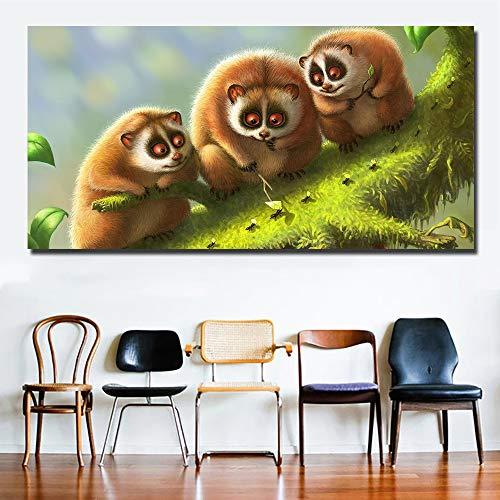 YHZSML HD Drucke DREI Lemuren Mit Ameisen Wandkunst Bilder Niedlichen Tier Malerei Leinwanddruck Für Kinderzimmer Dekoration Kein Rahmen 50X100CM