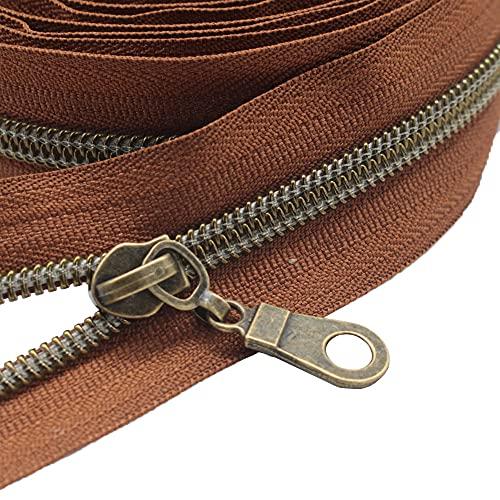 MebuZip 9 m bronzefarbene endlos Reißverschluss Meterware Reißverschluss Nylon 6mm-Spirale + 25 Nonlock-Zipper für Taschen Deko DIY Basteln Nähen (Bronzefarbene Braune)