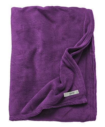 ESPRIT Mellows Sofadecke Magenta • weiche Kuscheldecke • Tagesdecke 150x200 cm • Leicht zu pflegene Couchdecke • 100prozent Polyester