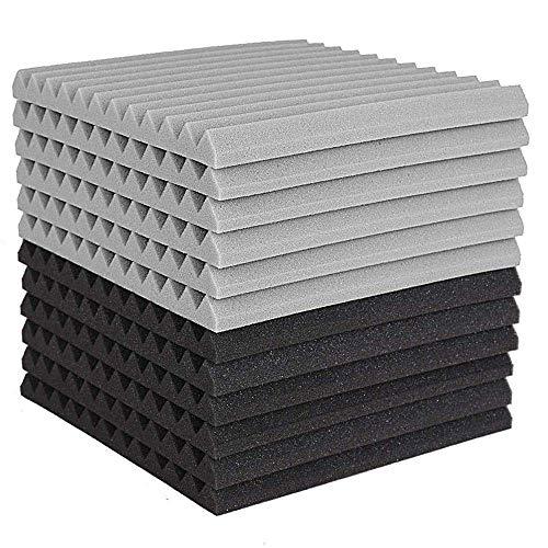 YBINGA 12 paneles de espuma acústica, azulejos de estudio de la cuña, espuma acústica, resistente al sonido, panel de pared de tratamiento de pirámide de 2,5 x 30 x 30 cm para aspiradora