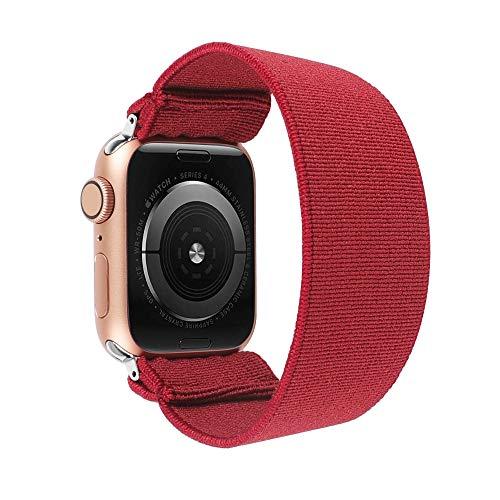 TOYOUTHS, cinturino elastico per Apple Watch, 42 mm, 44 mm, unisex, sport, tempo libero, cinturino di ricambio per iWatch serie 5 4 3 2 1 (rosso, misura grande)
