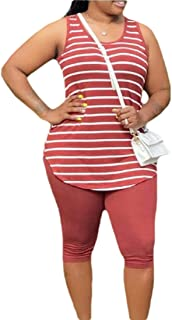 Womens Striped Tank Tops Skinny Shorts 2 Piece Outfits Tracksuit Set