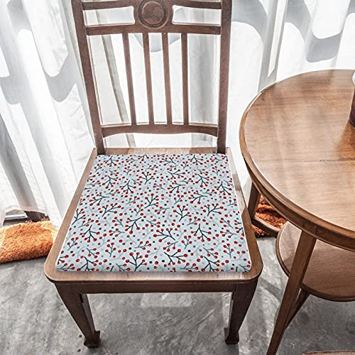 Cojín de asiento extraíble para decoración del hogar duradero para exteriores, jardín, patio, cocina, oficina, cojín cuadrado lavable, cómoda funda para silla, arte popular nórdico, bayas y ramas
