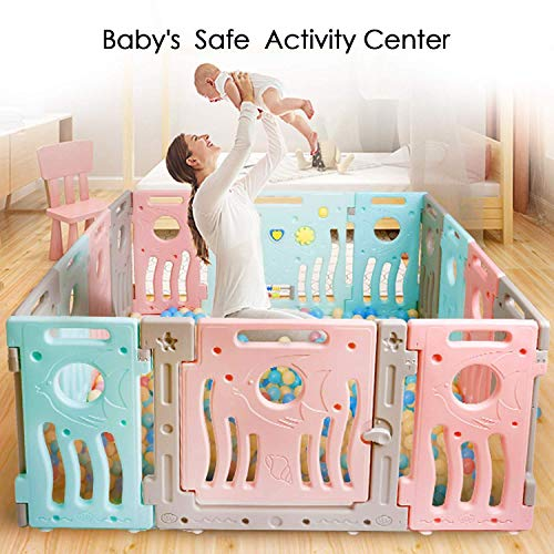 For Sale! TUSY Baby Playpen Kids Activity Center Baby Safety Play Yard Home New Style Pen (Multicolour, Classic Set 14 Panel)