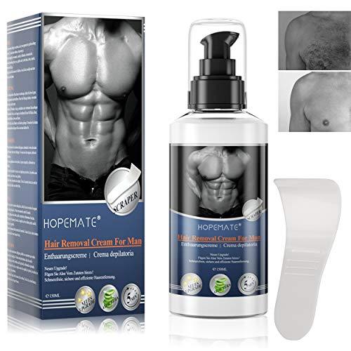 Enthaarungscreme, Haarentfernungscreme, Aloe Hair Removal Cream Feuchtigkeitsspendend für Männer Frauen,Schmerzfreie & Einfache Haarentfernung für Mehrere Körperteile mit SpatelMEHRWEG
