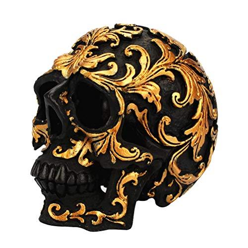 VOSAREA Resina Cranio Statuetta Decorativa Cranio Scultura Statua Casa Halloween Decorazione Ornamento (Nero e Dorato Carving)