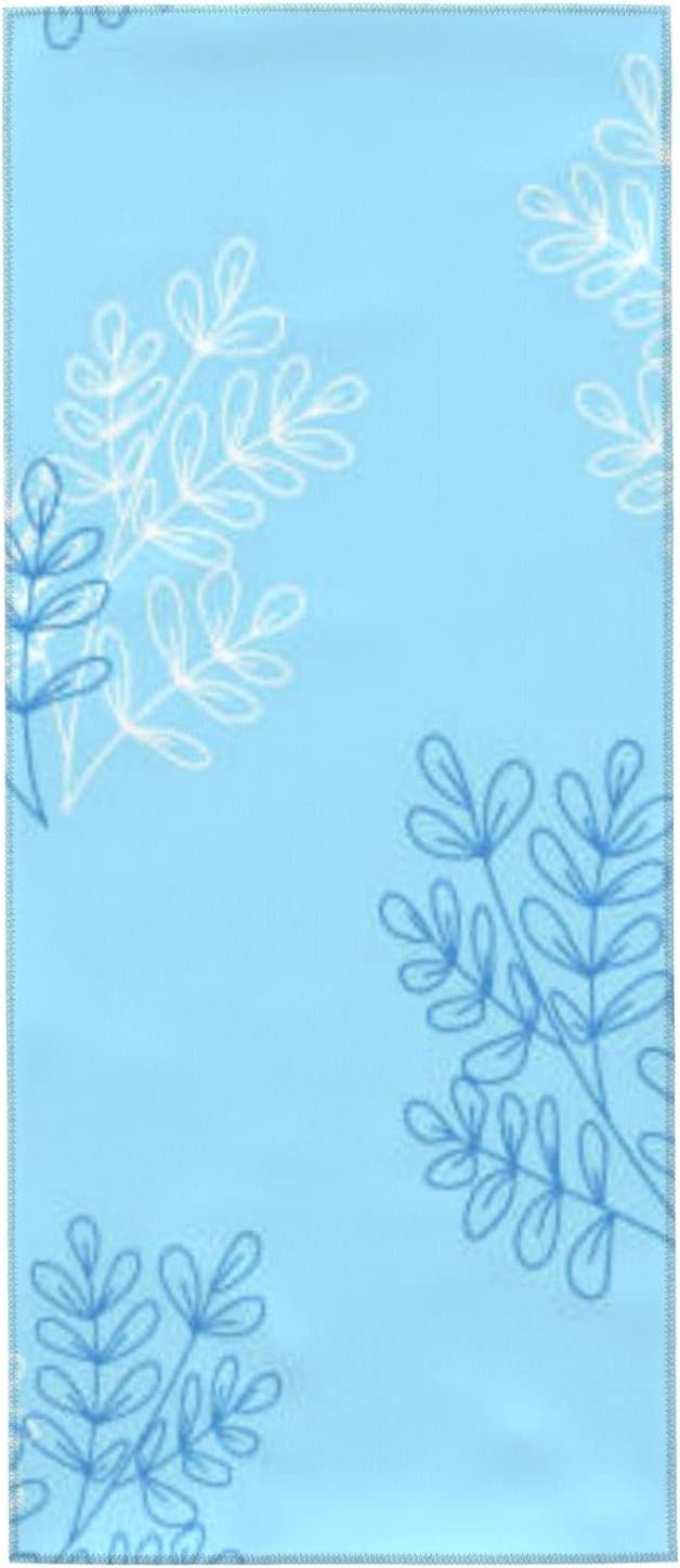 Microfiber Towels Face famous Towel Plant Leaves On S A Blue Super Soft 70% OFF Outlet