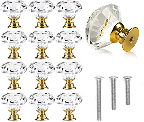 12 Pack 30mm Cabinet Knobs Drawer Pulls Drawer Knobs Dresser Knobs Diamond Shaped Crystal Glass with Screws Gold