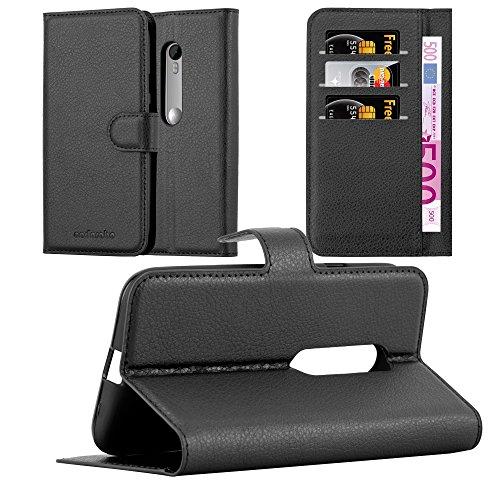 Cadorabo Hülle für Motorola Moto G3 in Phantom SCHWARZ - Handyhülle mit Magnetverschluss, Standfunktion & Kartenfach - Hülle Cover Schutzhülle Etui Tasche Book Klapp Style