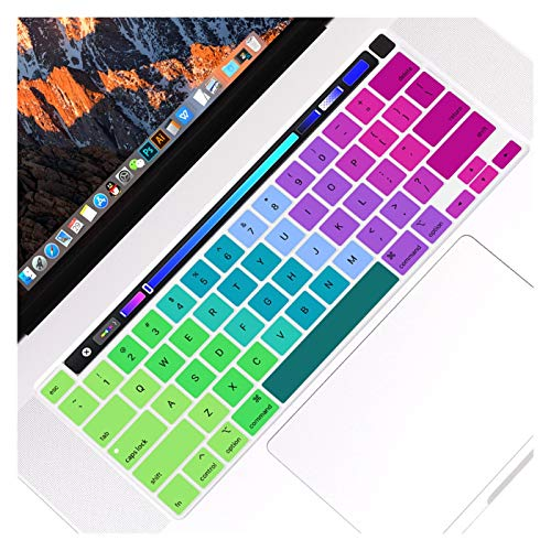 Waterproof Anti-Dust For MacBook Pro 16 inch with Touch Bar and Touch ID Model A1932,Protector Silicone Keyboard Cover Skin US Verstion protective case (Color : Rainbow)