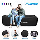 LUDTOM Inflatable Lounger Air Sofa Hammock, 440 lb Portable and Waterproof Ideal Inflatable Pouch Couch for Camping Gear and Accessories for Outdoors Pool Backyard Traveling Black