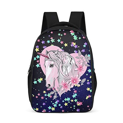 O2ECH-8 Rucksack Für Mädchen Einhorn Schulrucksack Heart Unicorn Rucksack Mädchen Kawaii - Cartoon Rucksack Kinder Rot Grey OneSize
