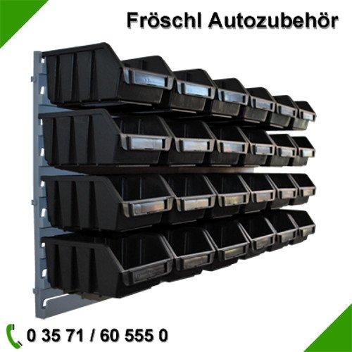 24x Größe 2 Sichtlagerkasten Lagersichtkasten Sichtlagerbox Lagerbox mit Wandhalterung Schwarz